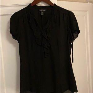 Black short sleeve silk top size 4